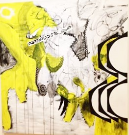 "Charline von Heyl ""Troubador"" 2014 oil,acrylic and charcoal on canvas 82x78"""