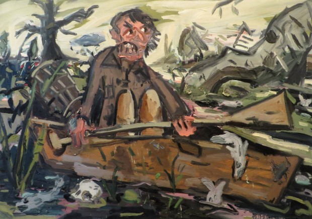 "The Skepticism of the Angry Man Landed Him in a Mire of Gloom and Doom, oil on canvas, 66""x 92"" 2016"